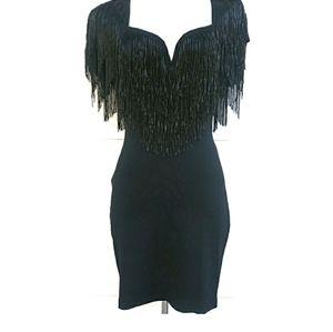 Casadei Vintage Beaded Fringe Sheath Dress